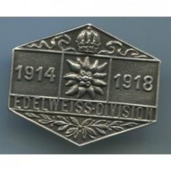 Distintivo EdelweissDivision 19141918. Dimensioni: 36x30 mm