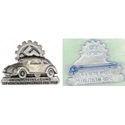 Distintivo commemorativo per la nascita della fabbrica Volkswagen nel 1938