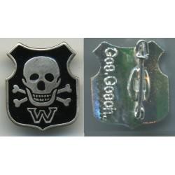 Distintivo di riconoscimento delle divisioni Waffen SS con marchio sul retro Ges.Gesch.