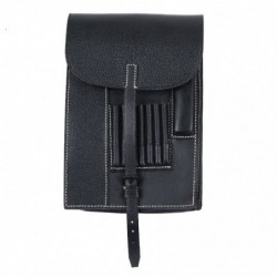 WHSS black map case. Made of pebbled leather with all details  pockets