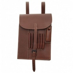 WHSS brown map case. Made of pebbled leather with all details  pockets