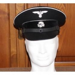 Black Wool Allgemeine Enlisted ManNCO s Schirmmutzen Visor Cap in black wool with white wool piping