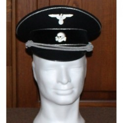 Black Wool Allgemeine SS Generals visor cap in black wool with silver braid piping
