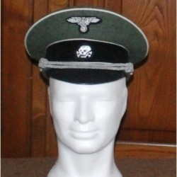 Waffen SS Officers Visor Cap in field grey wool with white piping